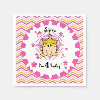 Custom Blond Princess 4th Birthday Paper Napkins