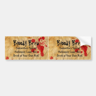 Custom Bloody Brew Beer Bottle 2up Bumper Labels