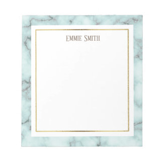 Custom Blue and Gray Marble Notepad