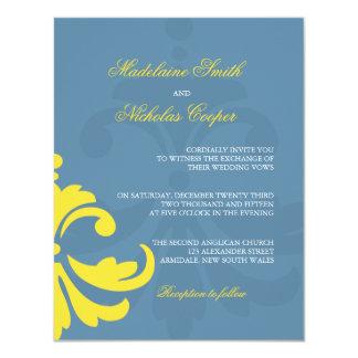 "Custom blue and white damask wedding invite 4.25"" x 5.5"" invitation card"