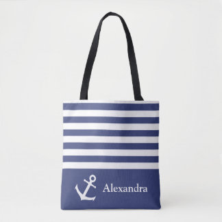 Custom Blue and White Striped Nautical Tote Bag