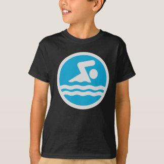 Custom Blue and White Swim Decal T-Shirt