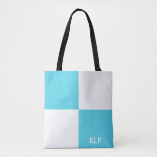 Custom Blue and White Tote Bag