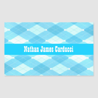 Custom Blue Aqua Argyle Book Belongs To Envelope S Rectangular Sticker