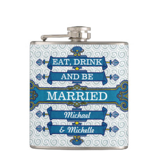 Custom Blue Beach Wedding Name Hip Flask