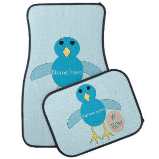 Custom Blue Birthday Boy Chick Car Mat Set