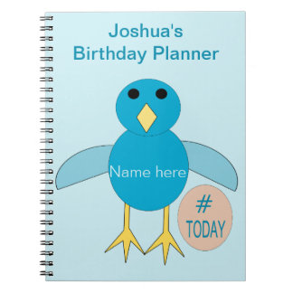 Custom Blue Birthday Boy Chick Notebook