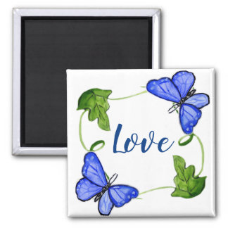 Custom Blue Butterfly With Vines Magnet
