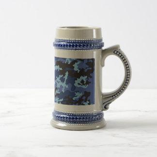 Custom Blue Camo Beer Stein Mugs