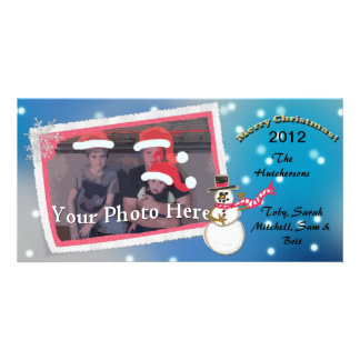 Custom Blue Christmas Snowman With One Photo - Customized Photo Card