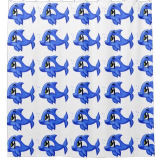 Custom Blue cute cartoon dolphin Shower Curtain