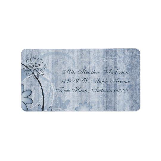 Custom Blue Floral Wedding Address Labels