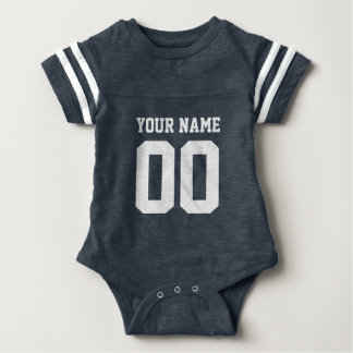Custom blue football jersey number baby bodysuit