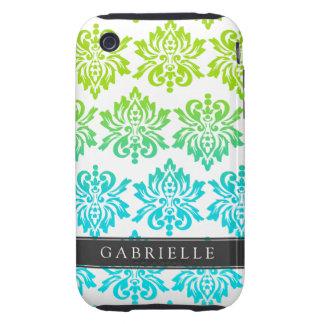 Custom Blue Green Damask Tough iPhone 3 Cover