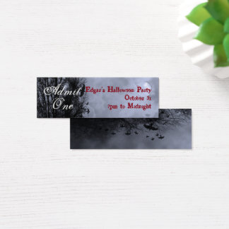 Custom Blue Halloween Sky and Ravens Party Ticket