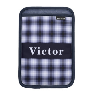 Custom Blue Monochrome Plaid iPad Mini Sleeve