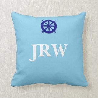 Custom Blue Monogram Nautical Throw Pillow