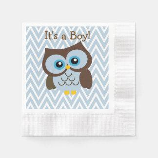 Custom Blue Owl & Blue Chevron Zigzag Napkins Disposable Napkins