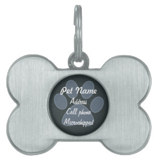 Custom Blue Paw Print Pet Tag