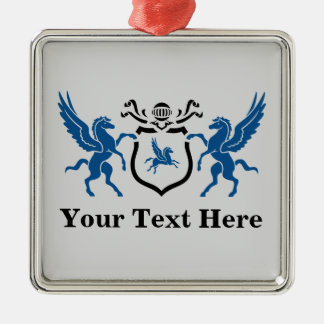Custom Blue Pegasus Silver-Colored Square Decoration