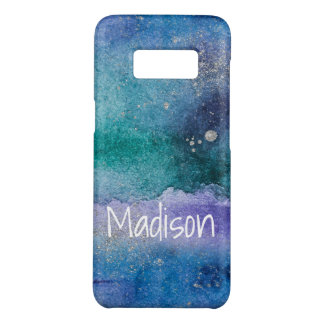 Custom Blue Purple Silver Abstract Watercolor Case-Mate Samsung Galaxy S8 Case
