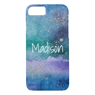 Custom Blue Purple Silver Abstract Watercolor iPhone 8/7 Case