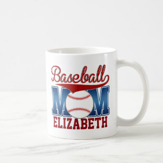 Custom Blue/Red Baseball Mom Coffee Mug