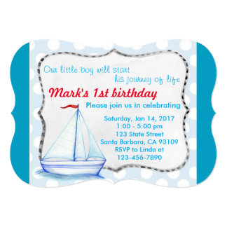 Custom Blue ship 1st birthday Invitation Card