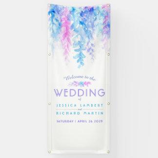 Custom blue wedding art welcome banner
