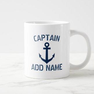 Custom boat captain name & anchor large jumbo mug