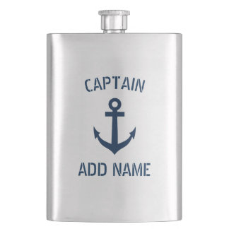 Custom boat captain name navy anchor steel flask