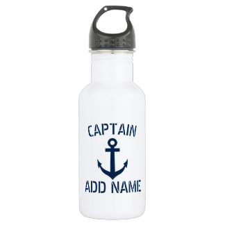 Custom boat captain name navy anchor water bottle