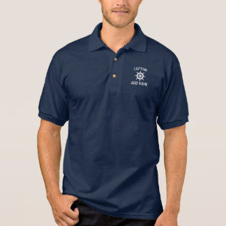 Custom boat captain name navy ship helm polo shirt