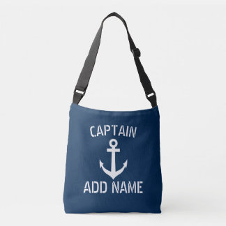 Custom boat captain nautical ship anchor navy blue crossbody bag