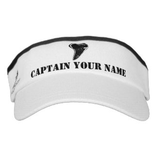 Custom boat captain shark tooth sun visor cap hat
