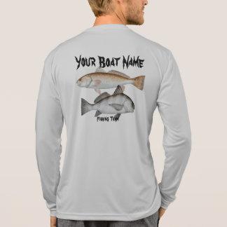 Custom Boat Name Fishing Shirt Red and Black Drum