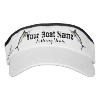 Custom Boat Name Fishing Team with Marlin Visor