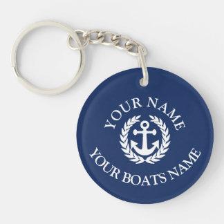 Custom boat name nautical anchor Double-Sided round acrylic key ring