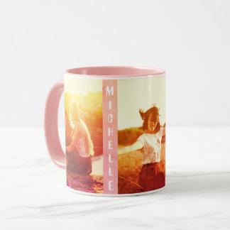 Custom boho chic vertica photo and name mug