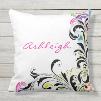 Custom Bold Graphic Swirls by apassion4pixels Outdoor Cushion