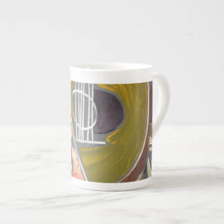 Custom Bone China Mug, 'Mandolin' abstract Tea Cup