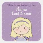 Custom book plates (blonde girl) sticker