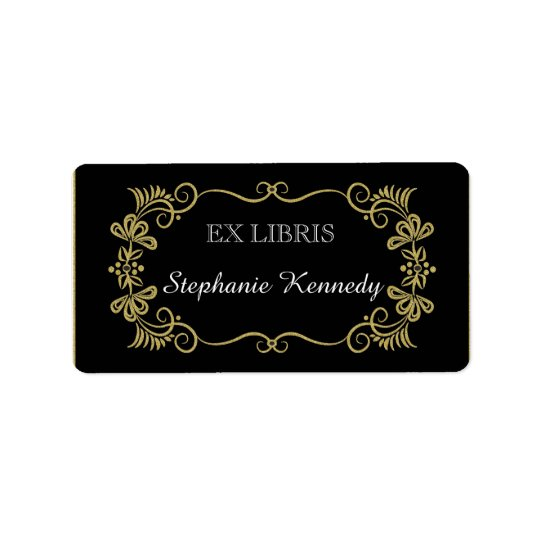 Custom Bookplates | Gold Floral Frame On Black Address Label