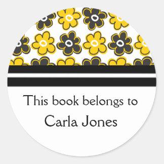 Custom Bookplates Yellow Black Retro Flowers Round Sticker