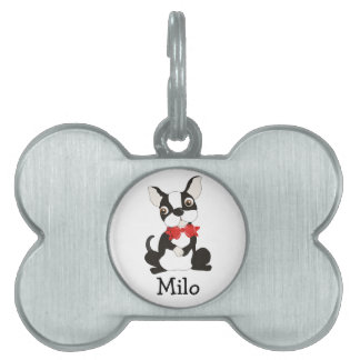 Custom Boston Terrier in Red Bow Tie Pet ID Tags