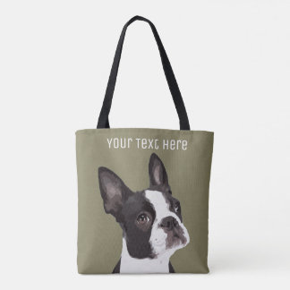 Custom Boston Terrier Tote Bag