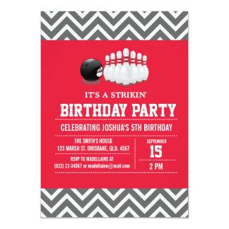 Custom Bowling Birthday Party Invitation for Boy