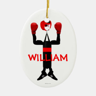 Custom Boxer Cartoon Ceramic Ornament