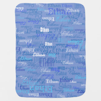 custom boy color names, personalized blue baby blanket