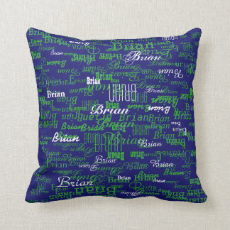 custom boy color names, personalized navy green cushion